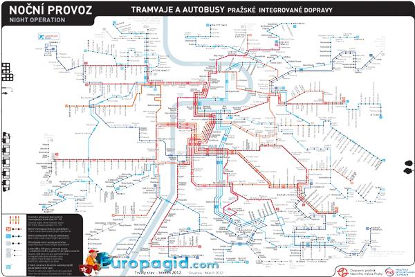 карта трамваев праги в ночное время