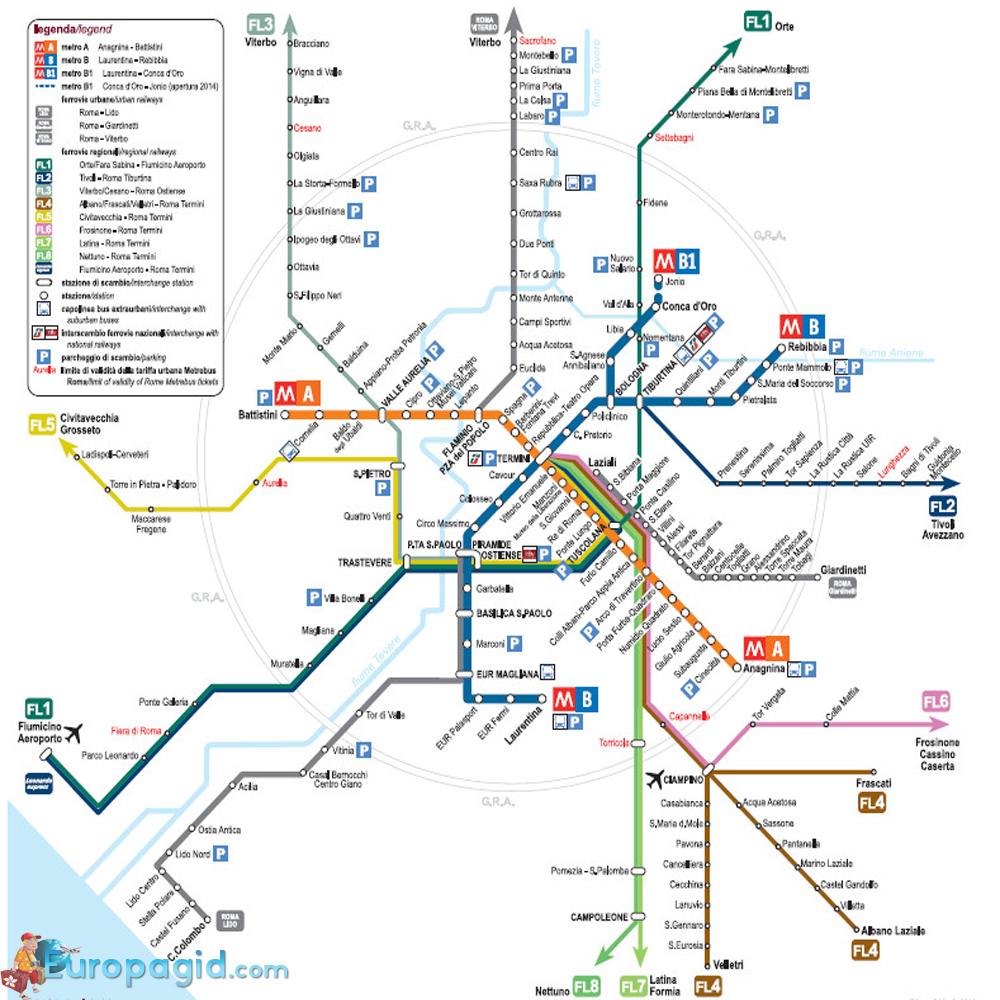 Схема линий метро рима