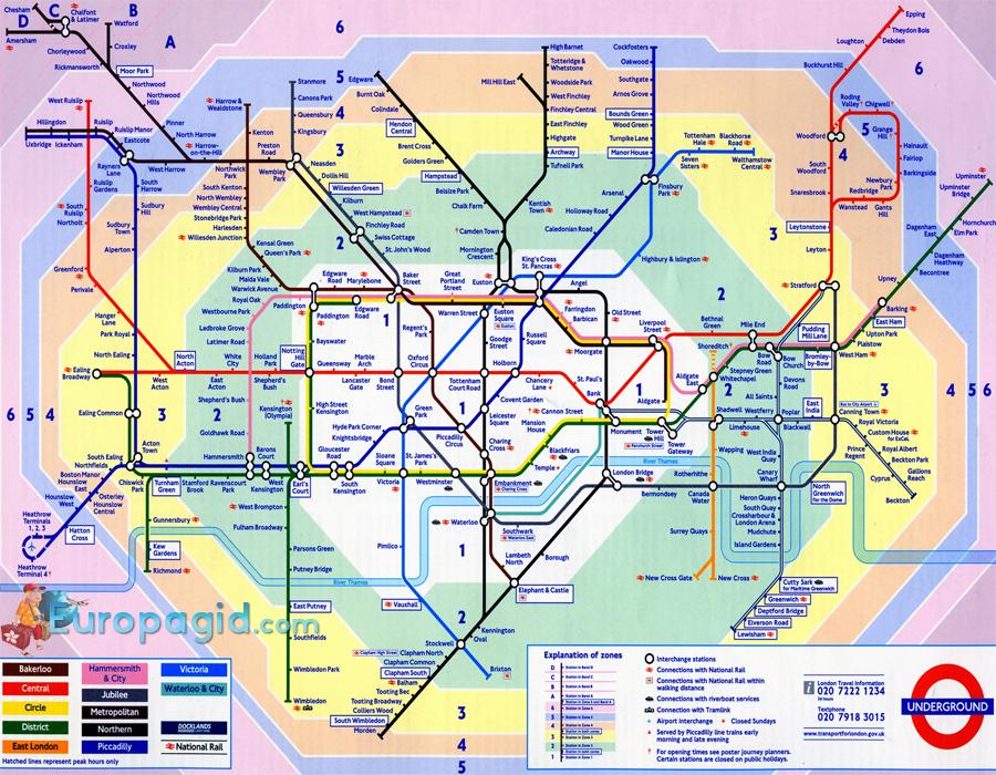 схема метро Лондона