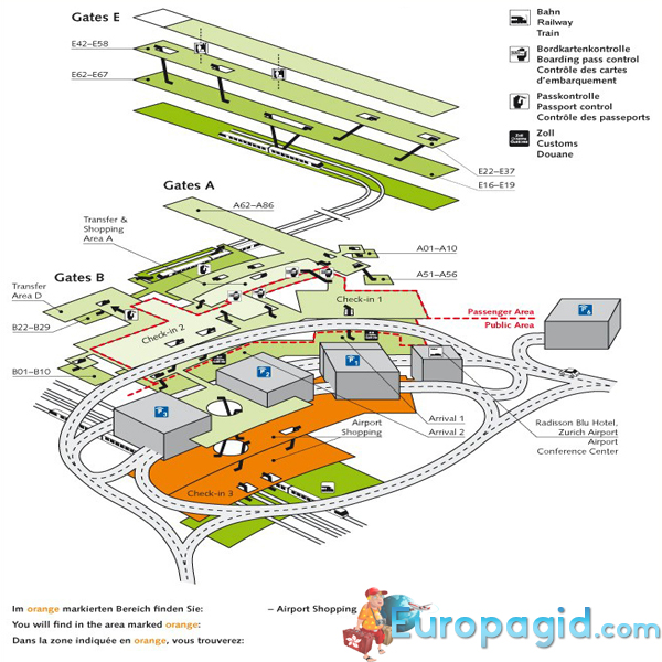 Аэропорт Цюриха, схема