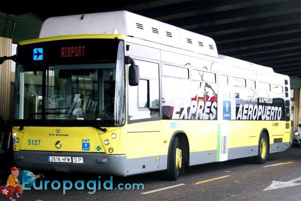 из аэропорта Мадрида  на автобусе