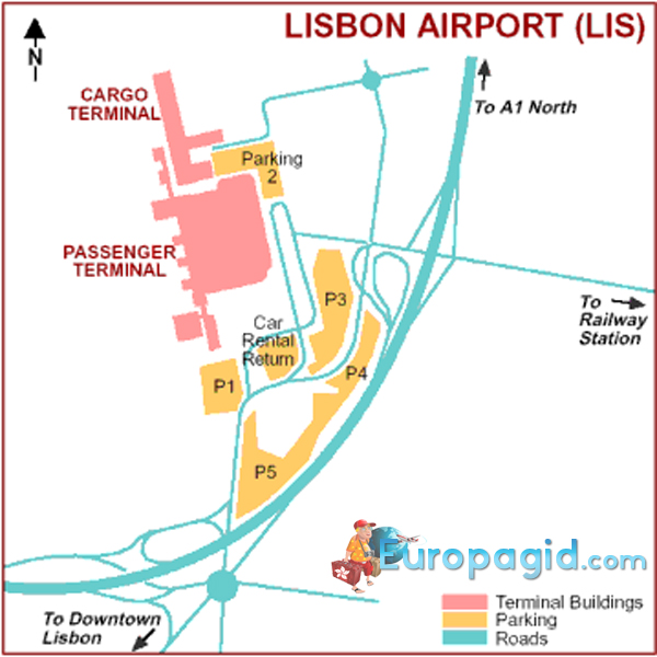 схема аэропорта Лиссабона
