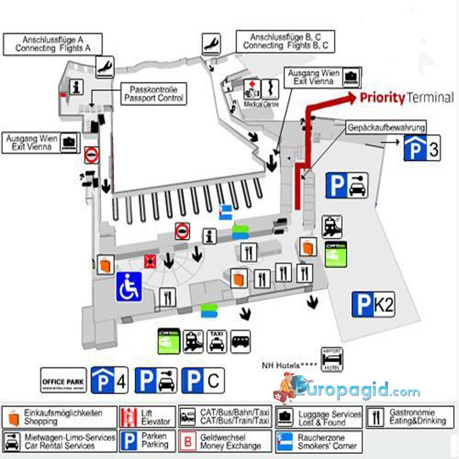 схема аэропорта Швехат