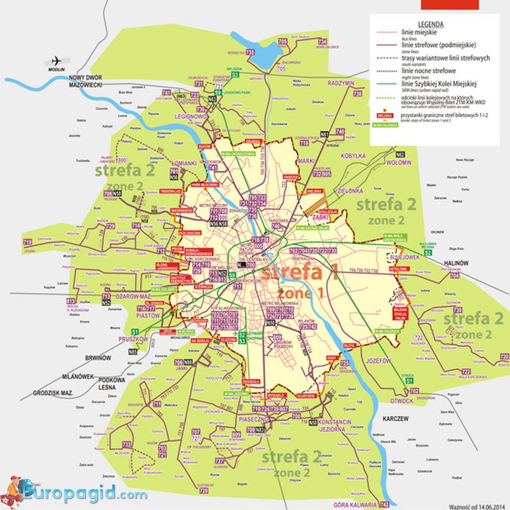 схема маршрутов автобусов в Варшаве