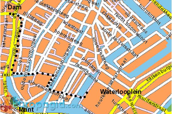 Блошиный рынок Амстердама на карте
