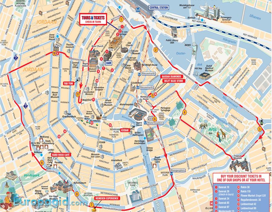 схема автобусов в Амстердаме