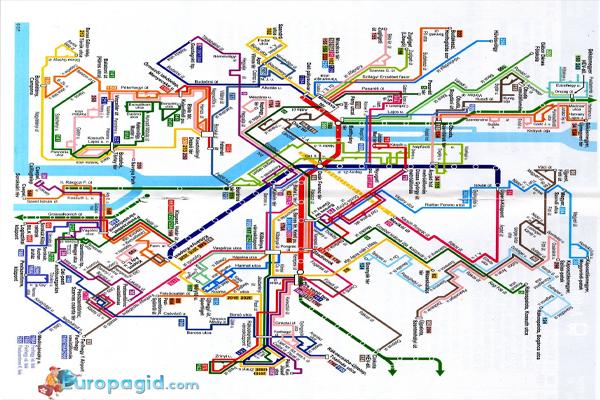 Схема маршрутов автобусов в