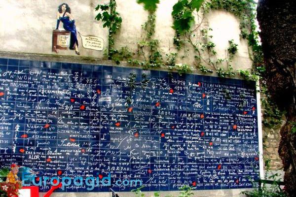 Монмартр район Парижа стена любви