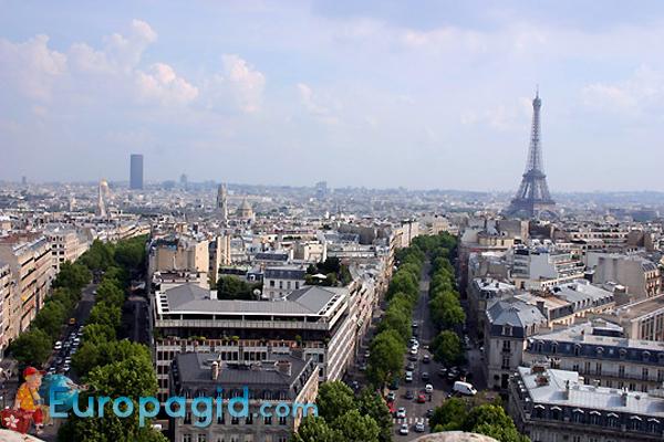 Триумфальная арка Парижа вид сверху