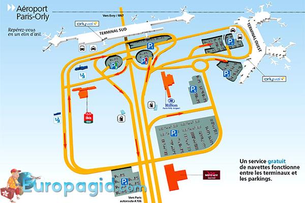 Схема аэропорта Парижа Орли