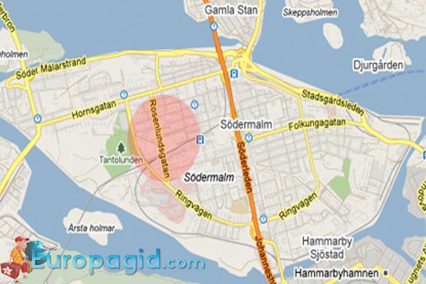 Район Седермальм в Стокгольме на карте