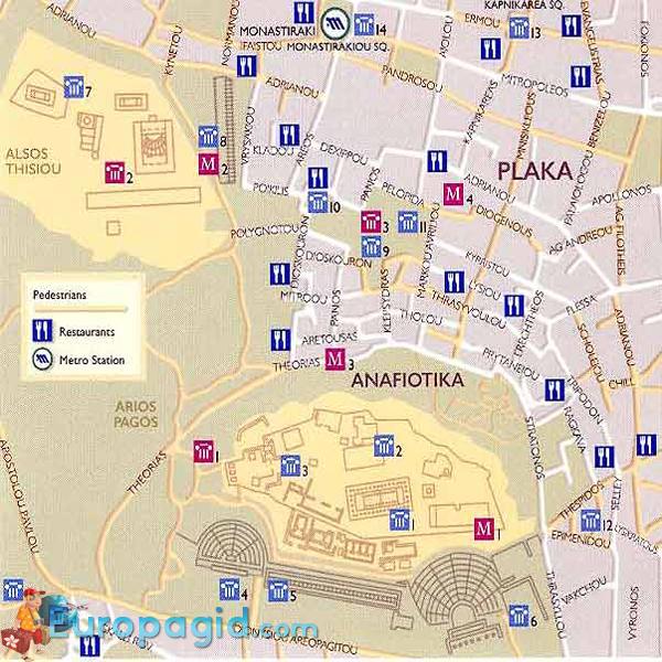 Район Плака в Афинах на карте