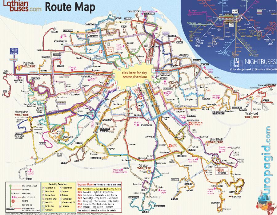 Схема маршрутов в Эдинбурге