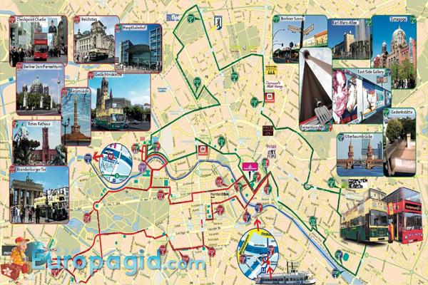 Туристические  автобусы  в Берлине схема