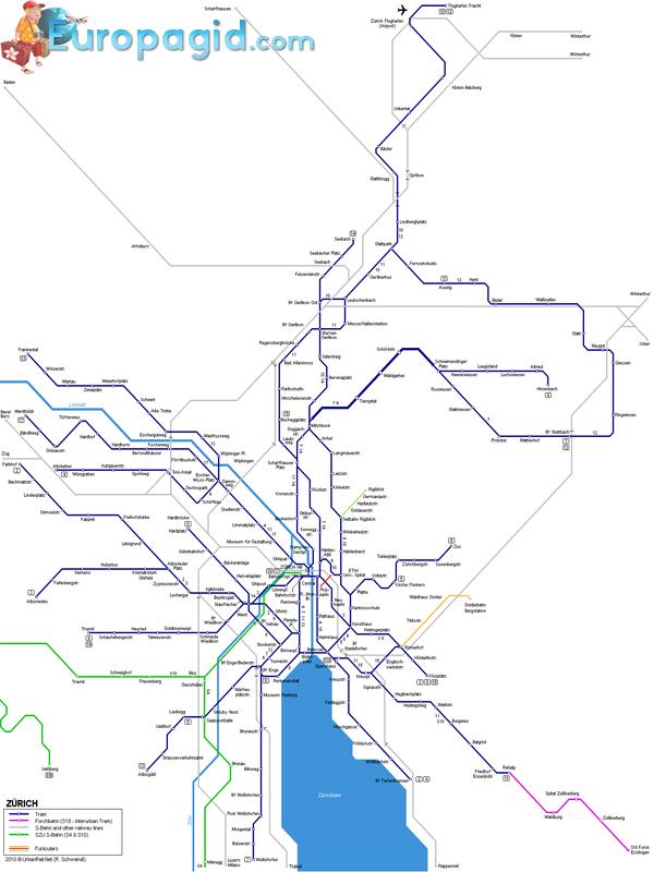 Схема движения трамваев в Цюрихе