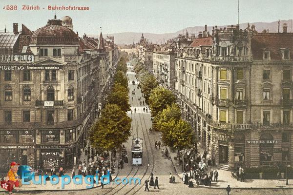 Улица Банхофштрассе в Цюрихе